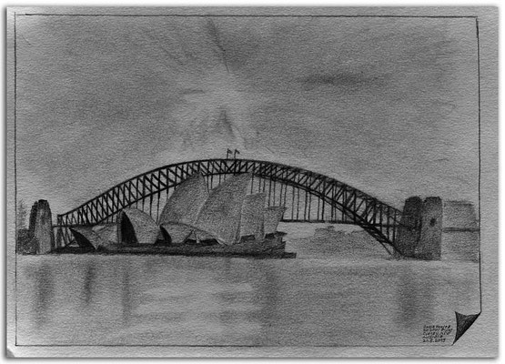 225.Skizze.Opera House & Harbour Bridge.Sydney.NSW.Australia