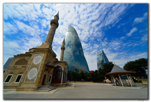 AZ079.Baku.Mosque & Flame Towers