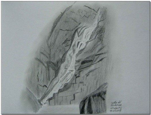 091.Skizze, Salto del Penitente /Uruuguay