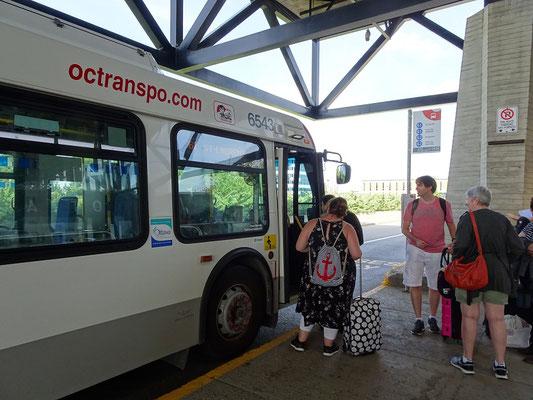 Rätselraten nach der Ankunft in Ottawa: Busline 61 oder 62? Und in welche Richtung?