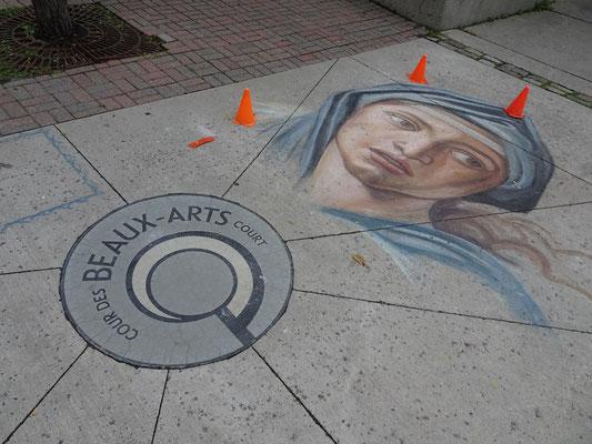 Urlaub in Ottawa: Strassenkunst nahe der Notre Dame Basilica.