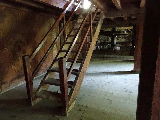 Black Creek Pioneer Village: Innenansicht der Wassermühle Roblin's Mill.