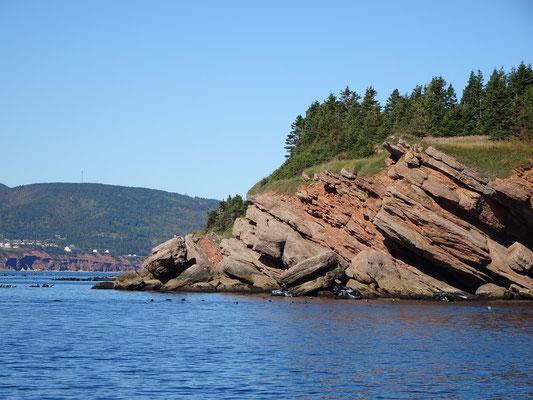 Urlaub in Quebec: Interessante Formen im Fels an der Bonaventure Insel.