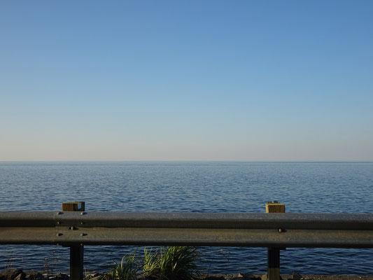 Herbsttour in Quebec: Blick auf den Sankt-Lorenz-Strom von der Route 132.