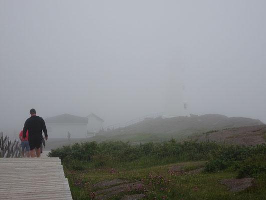 Urlaub in Neufundland: Suchbild mit Leuchtturm. Nur bei genauem Hinsehen erkennt man im Nebel den Leuchtturm von Cape Spear nahe St. John's.