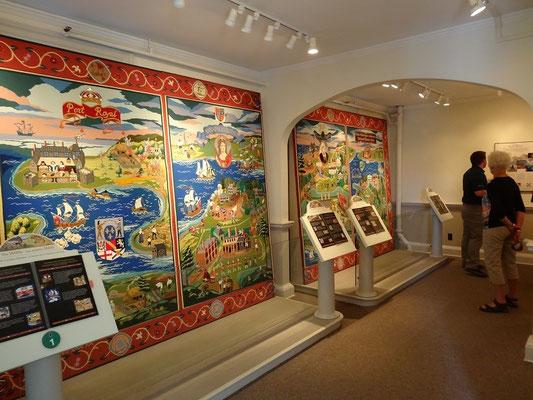Beeindruckende Wandteppiche erzählen die Geschichte von Annapolis Royal durch vier Jahrhunderte.