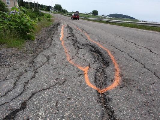 Strassenbau auf Cape Breton Island: Statt die Schlaglöcher zu auszubessern, markiert man sie lieber mit Sprühfarbe.