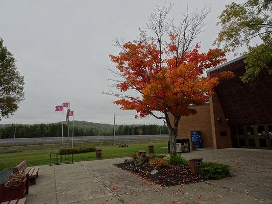 Urlaub in New Brunswick: Herbst vor der Tourismus-Information.