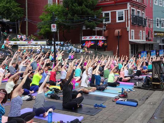 Urlaub in Neufundland: Yoga auf dem George Street Festival in St. John's.