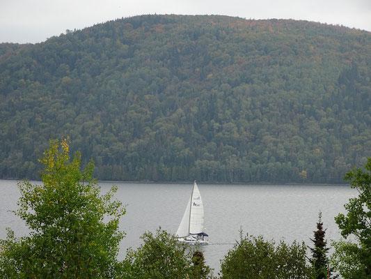 Urlaub in Quebec: Nachmittagsbild mit Boot und Bäumen aus dem Lac Temiscouata Naturpark.
