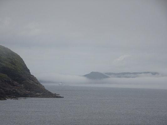 Urlaub in Neufundland: Blick vom Cape Spear auf eine Nebelbank.
