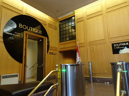 Urlaub in Ottawa: Eingang zum Verkaufsraum der Royal Canadian Mint. Während der Tour durch das Gebäude sind dann keine Fotos mehr erlaubt.