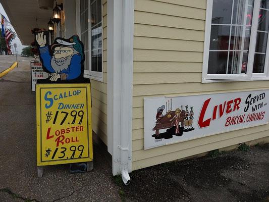 Urlaub in Nova Scotia: Restaurant in Digby mit typischer Speisekarte.