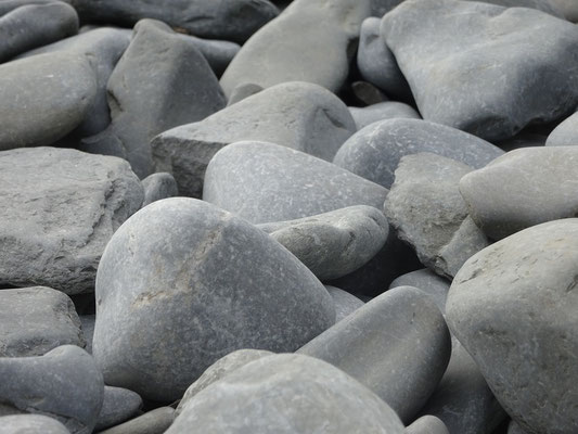 Urlaub in Quebec: Schnappschuss mit Steinen am Strand bei Cap-Bon-Ami auf der Ostseite des Forillon Nationalparks.