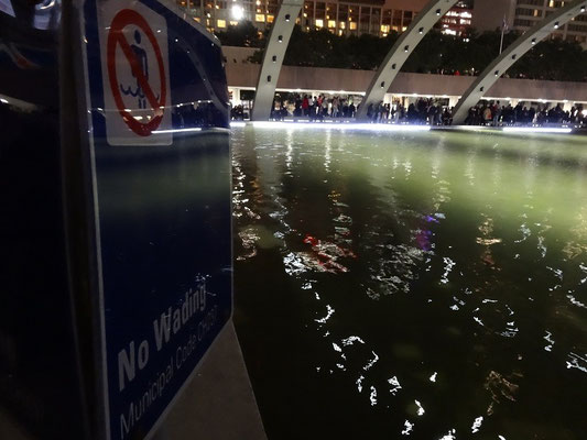 Good news from Nuit Blanche 2015 in Toronto: City Hall is reducing wading times.