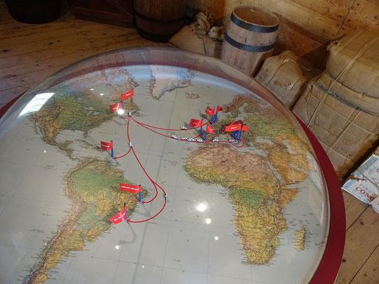 Urlaub in Quebec: Diese Karte im Hyman-General-Store Museum zeigt, wohin überall der Kabeljau aus der Gaspésie verkauft wurde.