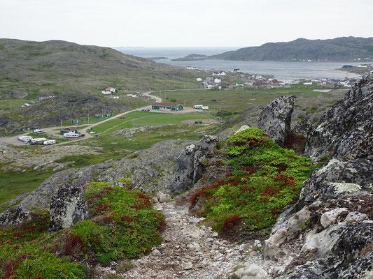 Talblick beim Aufstieg zum Brimstone Head auf Fogo Island.