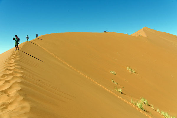 2014: Beim Aufstieg auf die Düne 'Big Daddy' (Namib-Wüste, Namibia)