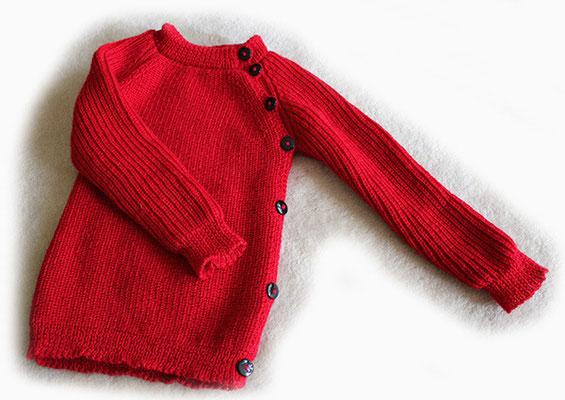 Babypullover aus Wolle mit Microfaseranteil, eine Seite komplett aufknöpfbar > 80 €