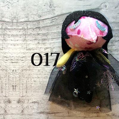 ピンク地の花柄マスクに瞑り目の017番