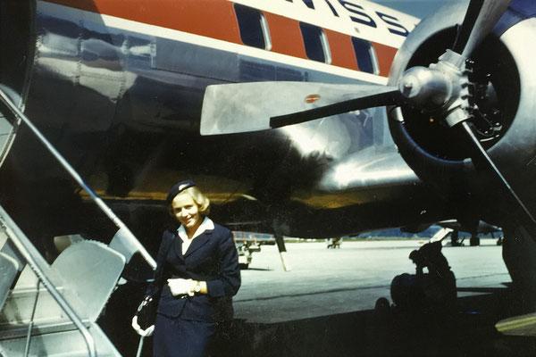 Hedy Sigg bei der Swissair