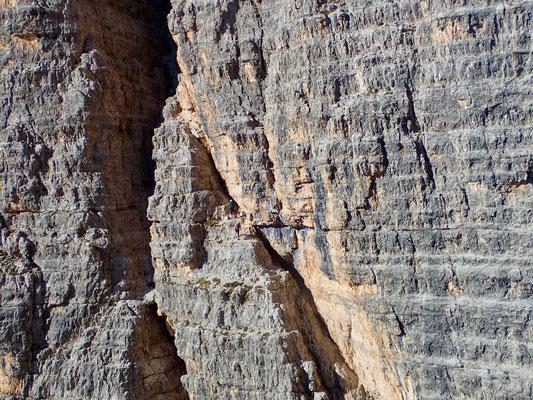 1. Seillänge blick auf Einstieg der grossen Zinne