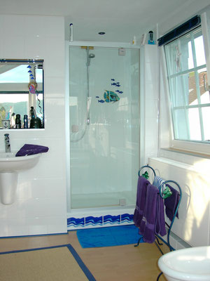 Duschbereich mit Hüppe Drehtür in Glas mit Glasbeschichtung,Kaldewei Brausewanne 900/900/65mm mit Viega Tempoplex Ablaufgarnitur und seitlicher Ablage 150mm