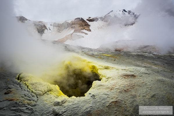 Fumarole im aktiven Krater des Mutnovsky-Vulkans