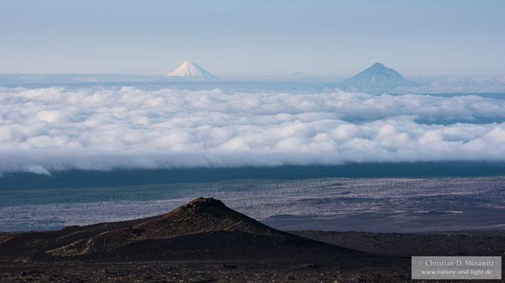 Blick vom Tolbatischk Vulkan zu den Vulkanen Kronotsky (links) und Kizimen (rechts)