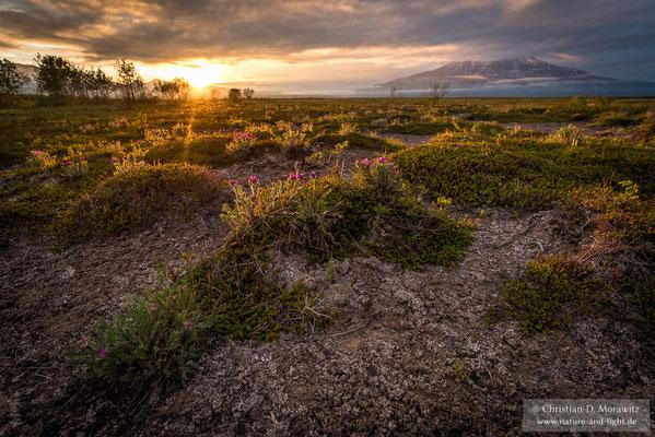 Sonnenuntergang am Fuß des Kronotsky Vulkans
