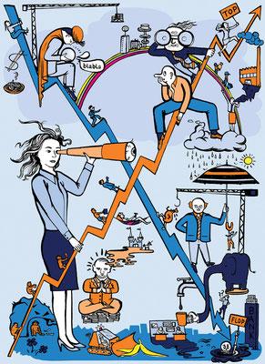 Wirtschaftsprognosen aller Art zeigt diese Illustration.