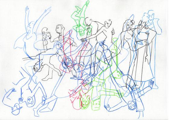 Illustrationskurs K. Gschwendtner TH Georg Simon Ohm, schnelle Zeichnungen aus dem Unterricht, Tanz n den Mai