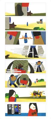 Bildergeschichte / Comic für die Nürnberger Nachrichten aus dem Kurs Illustration, geleitet von Katharina Gschwendtner an der TH Nürnberg