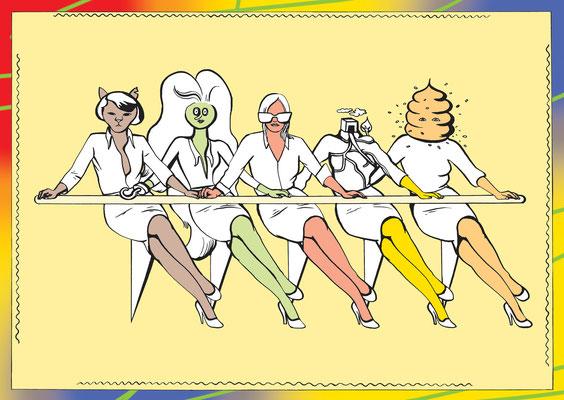 Dieses Plakat wirbt für eine Zeichenperformance der Gruppe Spring.