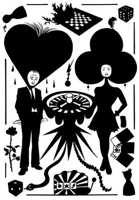 Für den Kultur Spiegel zum Thema Aberglaube entstand dieses ungleiche Paar. Wir sehen Glück im Spiel und Pech in der Liebe.