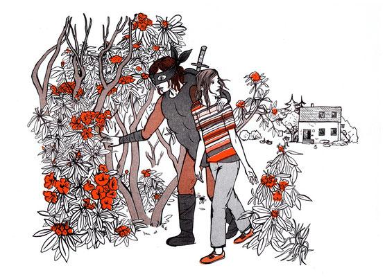 Diese Risografie zeigt einen Ninja Turtle als Fluchthelfer. Illustration zu Michael Weins Sie träumt von Pferden.