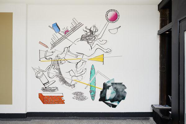 Wandinstallation und Teil der Ausstellung Spring Privè in der Hamburger Galerie Feinkunst Krüger