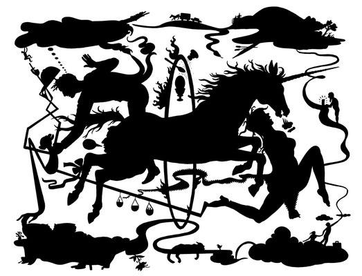Das Pferd springt durch den Feuerreifen! Dieser Scherenschnitt ist eine Illustration der Geschichte Sie träumt von Pferden von Michael Weins.