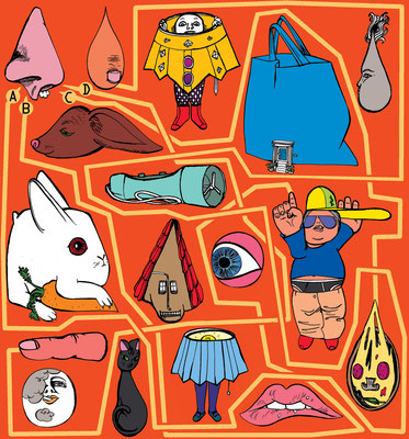 DIe Illustration zeigt ein Rätsel der Brigitte Kinderseite KLEINE BRIGITTE. Popeln verboten!