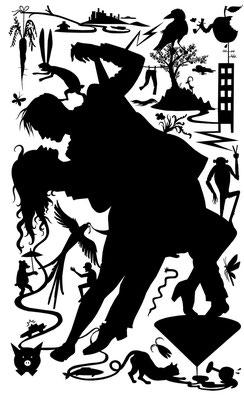 """Ein tanzendes Paar inmitten von Tieren stellt das Titelmotiv des Buches """"Sie träumt von Pferden"""" (Text Michael Weins) dar."""