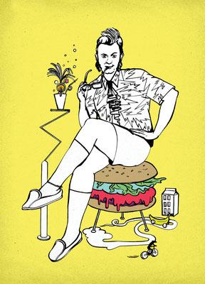 Diese Illustration entstand für Szene Hamburg Essen&Trinken und steht für die Rubrik Szenopolis. Hipster-Food!