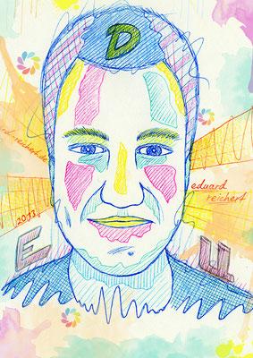 Illustrationskurs K. Gschwendtner TH Georg Simon Ohm, Portrait Übung aus dem Unterricht