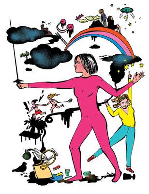 Diese Illustration entstand für FOCUS zum Thema Depression und Freundschaft. Wie rettet man diese?