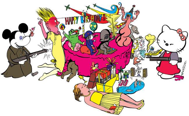 Für die Süddeutsche Zeitung entstand diese Illustration zur Thematik Wettrüsten ambitionierter Eltern um den besten Kindergeburtstag!