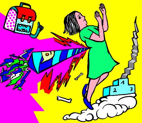 Kinder Karriere Kampf, eine Illustration zu Ildiko von Kürthys Problemzone, regelmäßig in der Brigitte zu lesen.