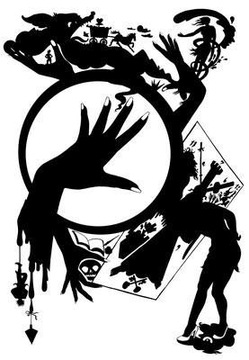 Diese Illustration zeigt die Utensilien einer Wahrsagerin, sie entstand für den Kultur Spiegel zum Thema Aberglaube.