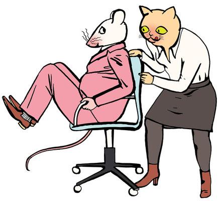 Für ein Dossier der Zeitschrift Brigitte entstand dieses Paar: Katze und Maus. Wir sind wie Tiere im Job.
