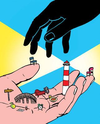 Diese Illustration entstand für FOCUS zum Thema Depression und Freundschaft. Leuchtturm und Hilfe in seelischer Not. Wie rettet man diese?