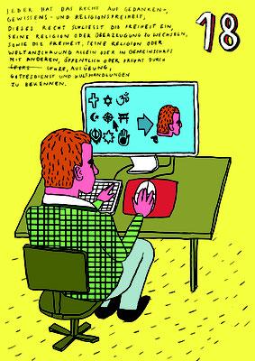 Plakat zum Thema Menschenrechte aus dem Kurs Illustration, geleitet von Katharina Gschwendtner an der TH Nürnberg