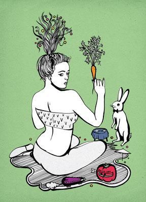 Die Illustration mit Hase und Karotte zeigt eine süße Vegetarierin. Entstanden für Szene Hamburg Essen&Trinken.